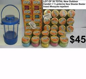 LOT OF 30 TOTAL New Skeeter Beeter Outdoor Candel + 1 Lanterne Insect Mosquito repellent Citronella Burns up to 28 hours