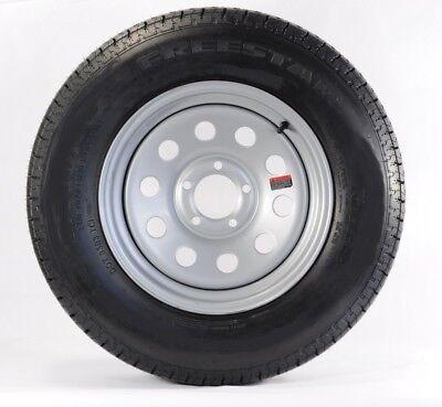 Two Trailer Tires Rims ST205/75D15 F78-15 205/75-15 LRC 5 Lug Silver Modular