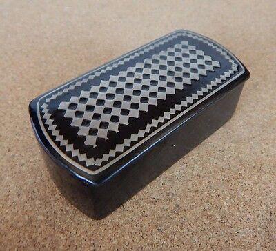 Victorian Papier Mache Snuff box Geometric design 7.5cm x 3.5cm