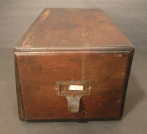 Vintage Brown Wooden Index Card File Box Pull Out Drawer Storage Box