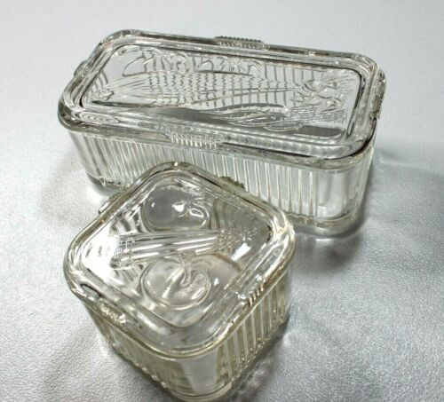 Clear Glass Refrigerator Covered Dish Set of 2 w/ Vegetable Design Lid 50