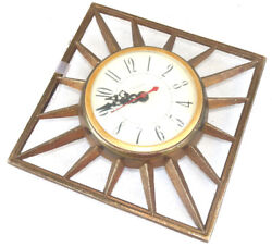 Mid Century Modern United Clock METAL Brass Look Square Sun Burst Steam AS IS