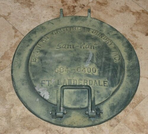 Rare 20 In BROWARD CASTING FOUNDRY-Man Hole Cover-SANI KAN-FT LAUDERDALE FLORIDA