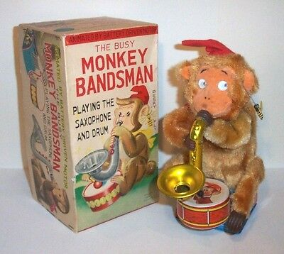 RARE 1950's BATTERY OPERATED BUSY MONKEY BANDSMAN a.k.a. SAXOPHONE MONKEY MINT