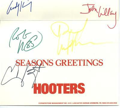 Hooters Happy Holidays Season's Greetings card- band signatures look auto pen Holiday Greetings Band