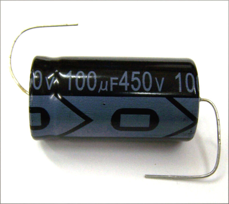 QTY 6 New MIEC 100UF 450V 105C Axial Electrolytic Capacitors.