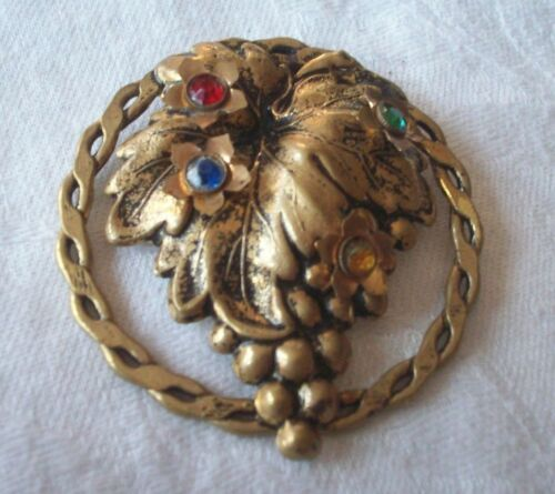 VINTAGE ART DECO MULTI COLOR RHINESTONES GOLD DRESS FUR COLLAR CLIP