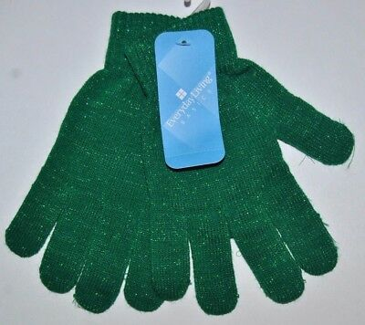 Ladies Everyday Green Glitter Christmas Knitted Gloves, One - Green Gloves