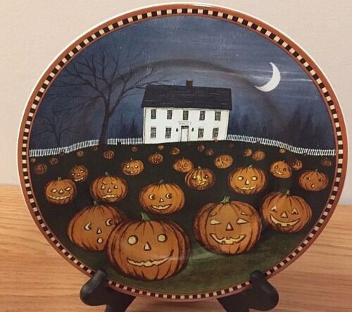 Halloween PUMPKIN HOLLOW plate by David Cater Brown 2001 Primitive Country House