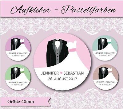 personalisierte Aufkleber Hochzeit - Brautpaar - Pastell - mint - lila - rosa