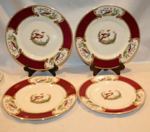 MYOTTO STAFFORDSHIRE CHELSEA BIRD RED DINNER PLATES SET OF 4 SIGNED ROBERT