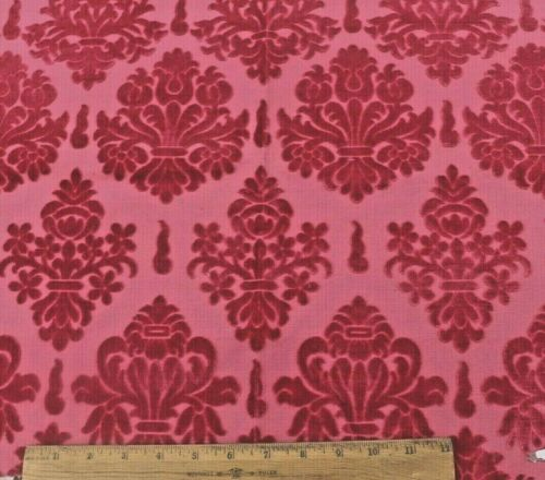 """Antique 19thC French Cut Cotton Velvet Fabric Sample~Frame Layout~19""""X25"""""""