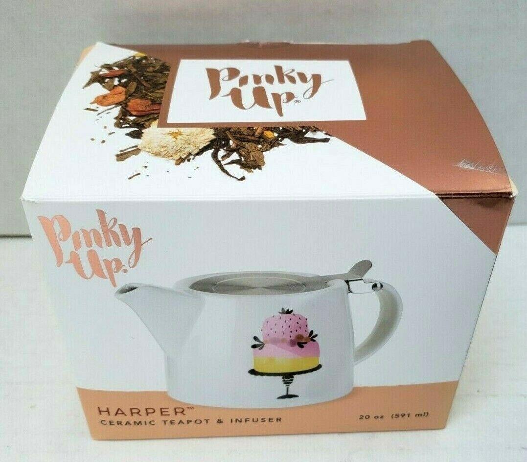 Pinky Up Ceramic Harper Teapot Infuser Piece Of Cake Decorat