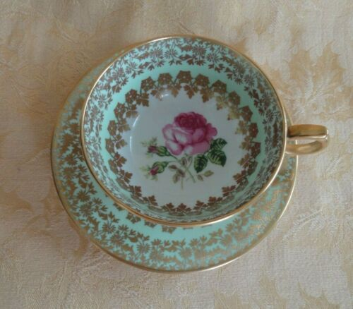 Clarence Bone China Green With Pink Rose Gold Gilt Cup & Saucer England