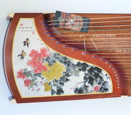 """Painted Flowers"" Rosewood Dunhuang-Yun Brand Guzheng 敦煌韵牌""玉堂富贵""非洲紫檀木古筝"