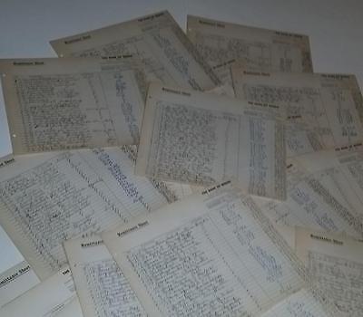 vintage paper ephemera lot 25 pieces Lg bank ledger pages 1950's handwritten