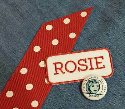 Baby In Halloween Costumes (Child's Rosie the Riveter Costume, Pin + Patch, hair ribbon in red polka)