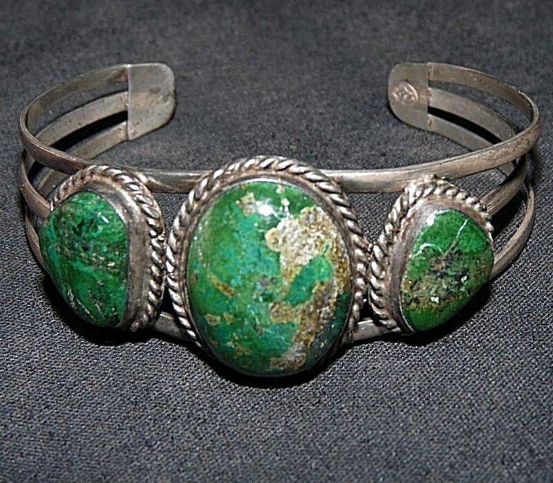 Navajo Bracelet Sterling Silver Damele Turquoise Old Pawn Native American