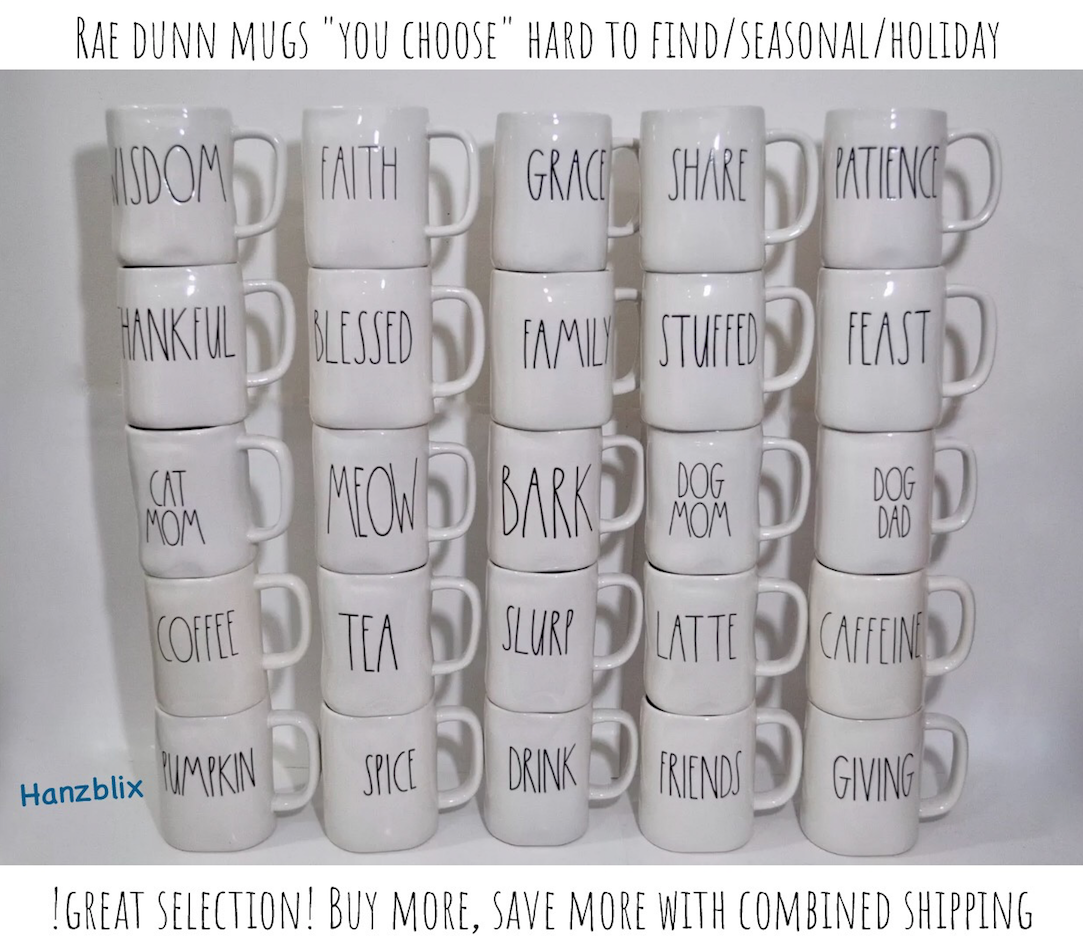 "RAE DUNN ""YOU CHOOSE"" MUGS *SAVE ON SHIPPING* 2018 NEW HTF/RARE"