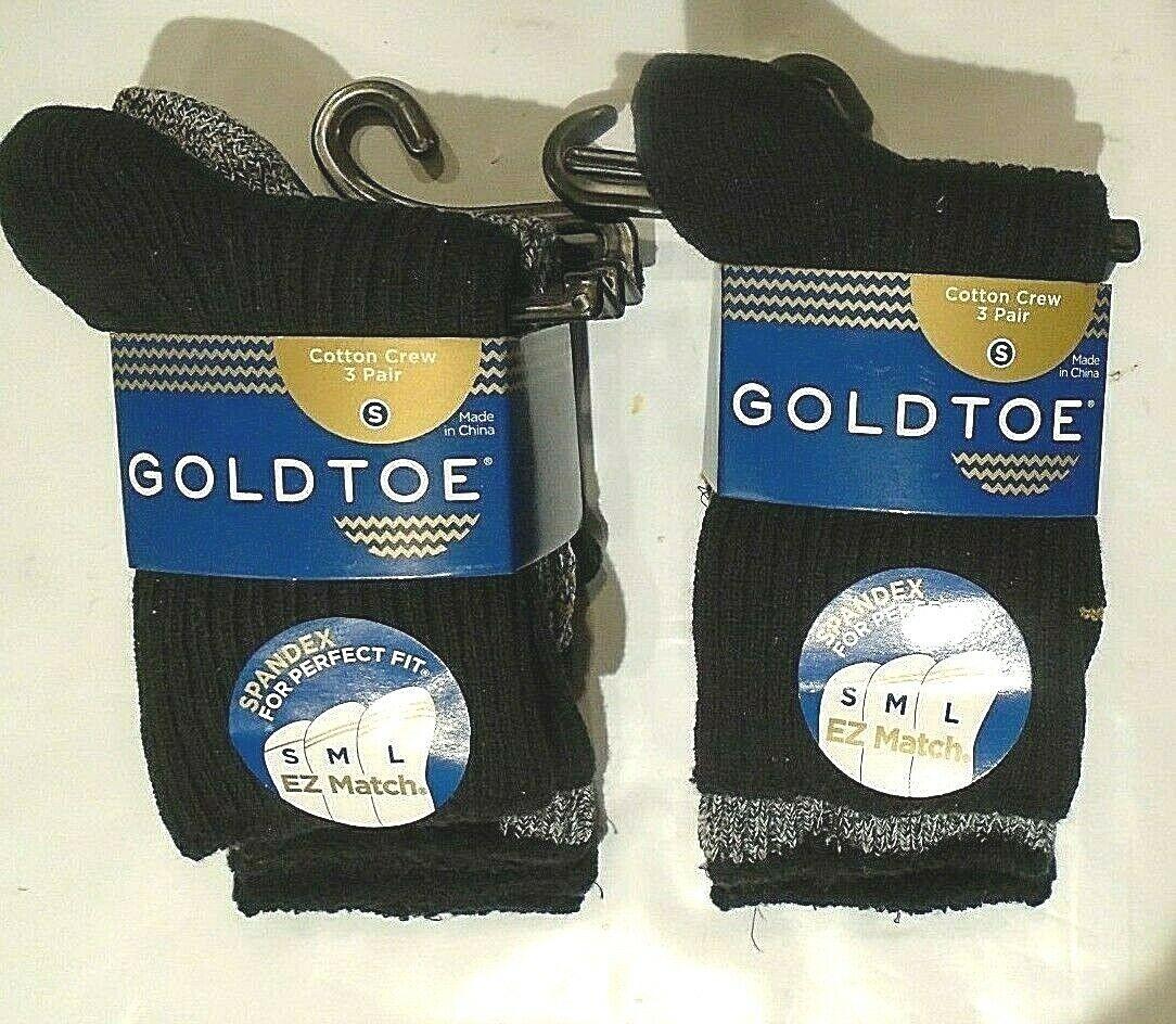 Gold Toe Boys' Cotton Crew Socks  6 PAIR  Small Style 713  B