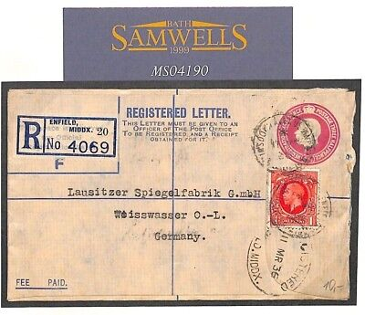 MS4190 1936 GB POSTAL STATIONERY Registered Letter BLUE DUPLEX STOCK Cover