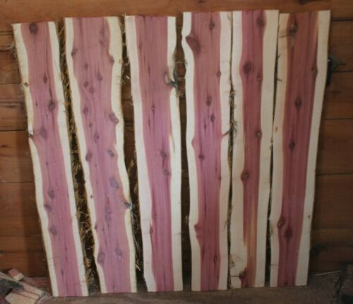 Six  Red Cedar Live Edge Wood Slabs  Rustic Woodwork 48in