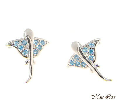 925 Sterling Silver Blue Topaz Hawaiian Stingray Post Stud Earrings Blue Sterling Silver Earrings