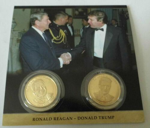 DONALD J TRUMP RONALD REAGAN COMMEMORATIVE Collector Picture Coin Set Rare