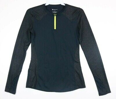 Fabletics 1/4 Zip Black long sleeve pull over top Primal Print Sleeves Womens XS