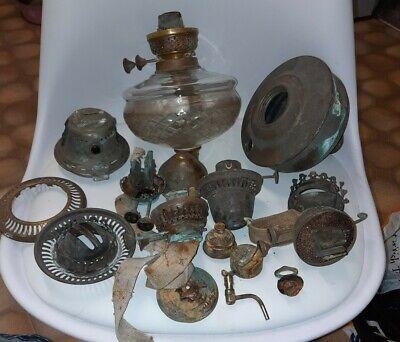Vintage Oil Lamp Spares - Job Lot. Some Damaged.