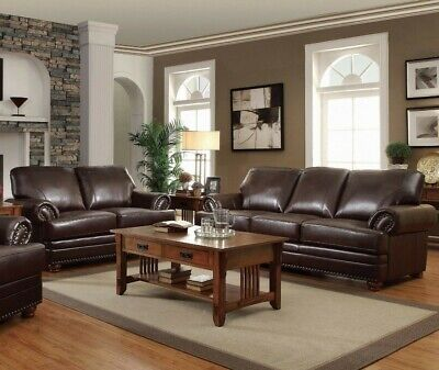 Traditional Living Room 2-Piece Sofa Loveseat & Chair Couch Set Faux Leather