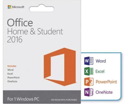 Microsoft Office Home and Student 2016 for Windows PC KEY CARD & DOWNLOAD