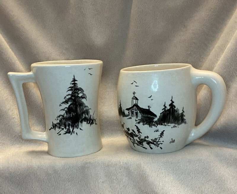 Pair of Bering Sea Originals Hand Painted Mugs Signed