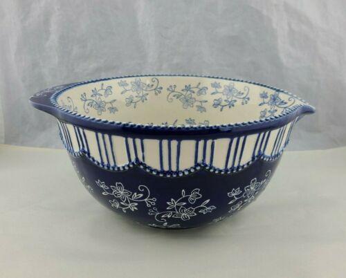 Temptations Blue Floral Lace Mixing Bowl Batter Pour  3.5 Qt