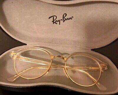 Rayban Eyeglasses Unisex 4246v 5762 Gold /clear /Transparent Round (Round Glasses Transparent)