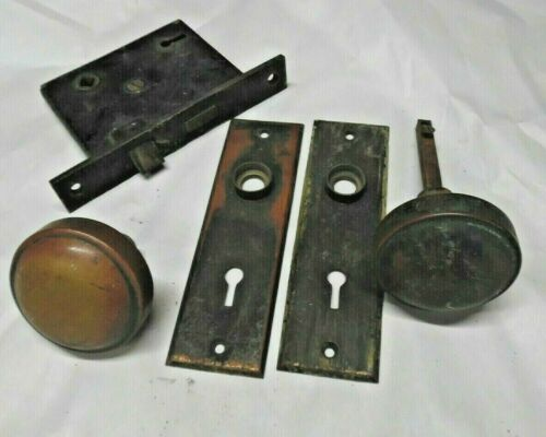 Vintage mortise lock with brass knobs and back plates original patina   (LS2)