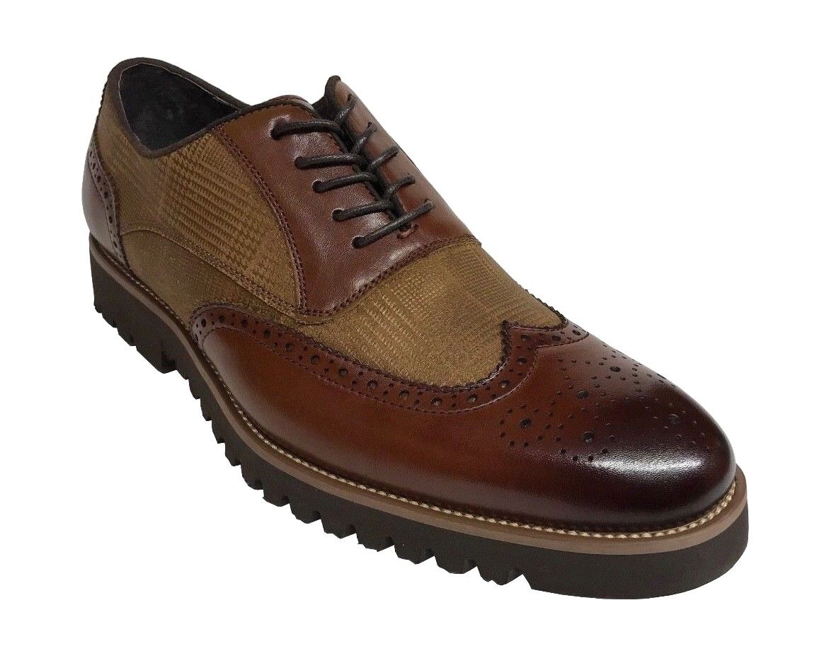 Stacy Adams Baxley Men's Oxford Wing Tip Cognac Shoes 25217-