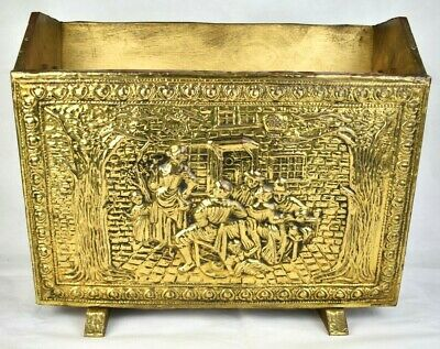 Vintage Brass Magazine Rack Embossed Tavern Scene