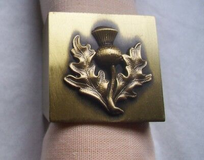 SOLID BRASS NAPKIN RING - ANTIQUE FINISH- THISTLE - Antiqued Brass Napkin Ring