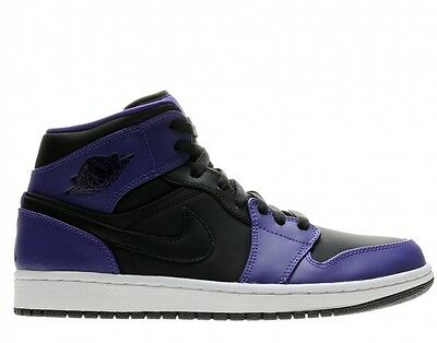 Nike Air Jordan 1 Mid Black/Dark Concord Men's Basketball Shoes Size 10.5