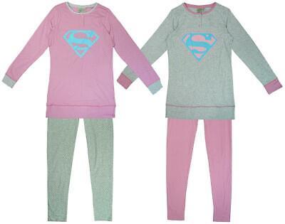 Womens DC Comics S Logo Supergirl Long Sleeve Top & Bottoms Pyjamas Sizes 6 to12