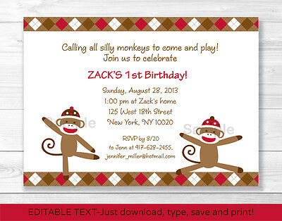 Sock Monkey Invitations (Silly Sock Monkey Printable Birthday Invitation Editable)