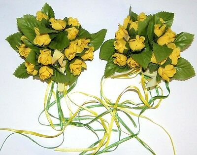 EDEL Blumendeko 2 x Kerzenring ROSEN gelb 12cm top Floristen-,Händlerposten 5524