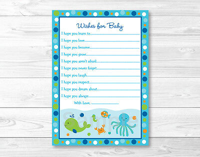 Under the Sea Nautical Blue Printable Baby Shower Wishes for Baby Advice - Baby Advice Cards