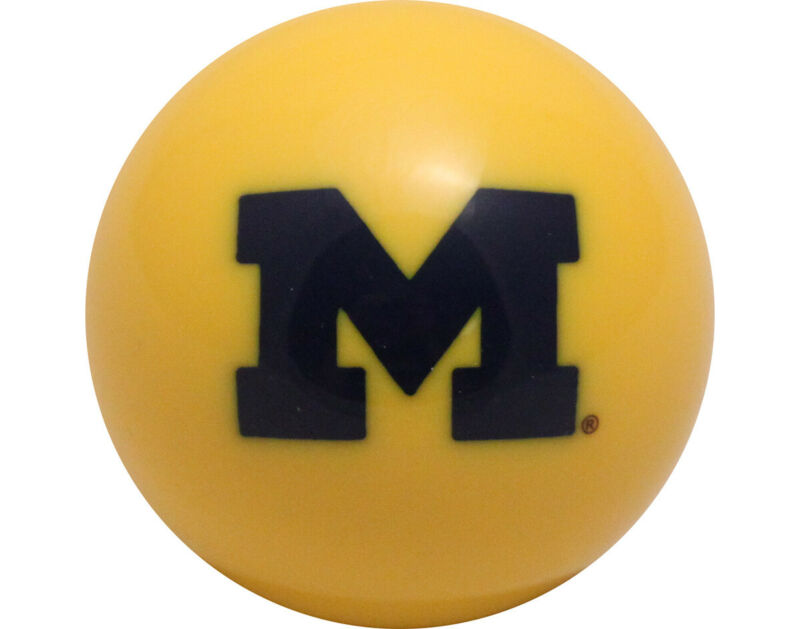 NCAA Imperial College Michigan Wolverines Pool Billiard Cue or 8 Ball - Yellow