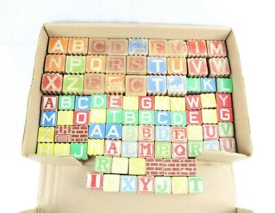Lot of 89 Vintage Wooden Mixed Childrens Building Blocks Alphabet-Picture ABCs