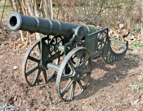 Antique Cannon Old Cast Iron Replica Mounted On Wheels Civil War Military R.M.I