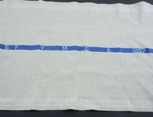 YMCA San Francisco Hotel Towel 1937 White Blue Vintage SF 36x20 Inch Cotton