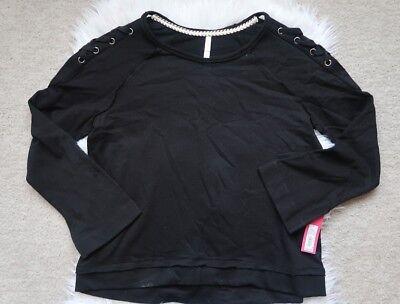 NEW Xhilaration Sweatshirt Sweater Size Large Black Pullover Lace Up Shoulder