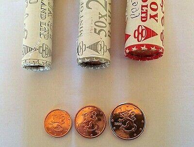 Finlande 2000 Lot Serie 1,2,5 cent ct Euro Piece De Rouleaux Unc Qualite Premium